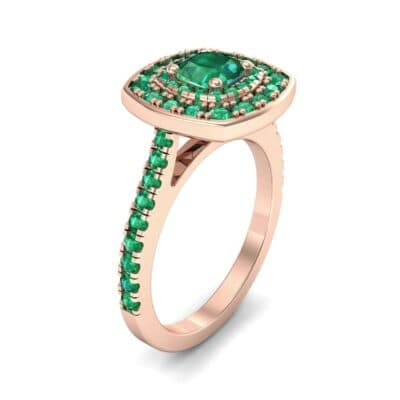 Gala Double Halo Cushion-Cut Emerald Engagement Ring (0.92 CTW)