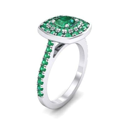 Gala Double Halo Cushion-Cut Emerald Engagement Ring (0.92 Carat)
