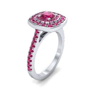 Gala Double Halo Cushion-Cut Ruby Engagement Ring (0.92 Carat)