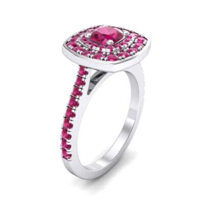 Gala Double Halo Cushion-Cut Ruby Engagement Ring (0.92 CTW)