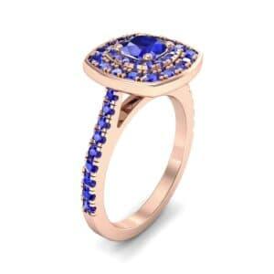 Gala Double Halo Cushion-Cut Blue Sapphire Engagement Ring (0.92 Carat)
