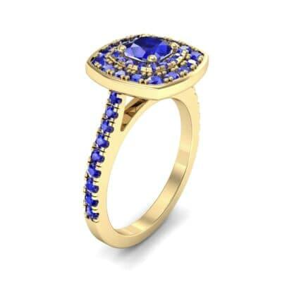 Gala Double Halo Cushion-Cut Blue Sapphire Engagement Ring (0.92 CTW)