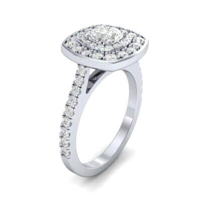 Gala Double Halo Cushion-Cut Diamond Engagement Ring (0.92 CTW)