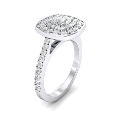 Gala Double Halo Cushion-Cut Diamond Engagement Ring (0.92 Carat)