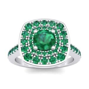 Gala Double Halo Cushion-Cut Emerald Engagement Ring (0.92 Carat)