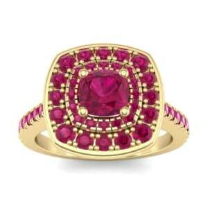 Gala Double Halo Cushion-Cut Ruby Engagement Ring (0.92 Carat)