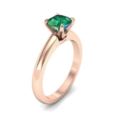 Claw Prong Cushion-Cut Solitaire Emerald Engagement Ring (0.66 CTW)