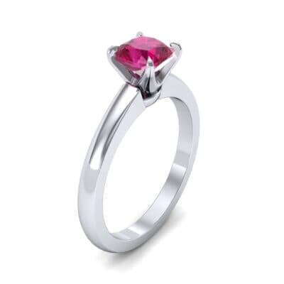 Claw Prong Cushion-Cut Solitaire Ruby Engagement Ring (0.66 Carat)