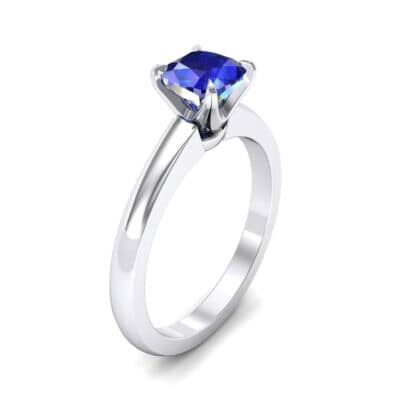 Claw Prong Cushion-Cut Solitaire Blue Sapphire Engagement Ring (0.66 CTW)