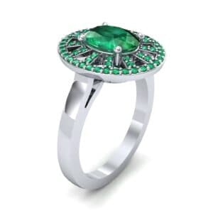 Oval Pierced Halo Emerald Ring (1.51 Carat)