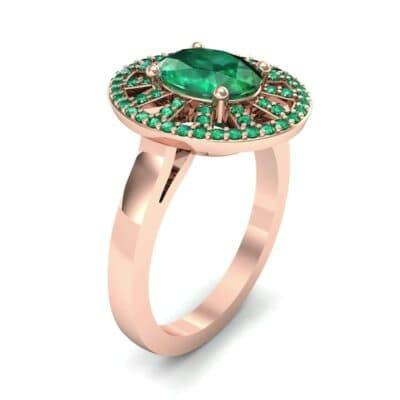 Oval Pierced Halo Emerald Ring (1.51 CTW)