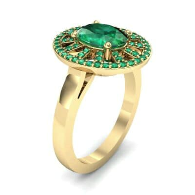 Oval Pierced Halo Emerald Ring (1.51 CTW)