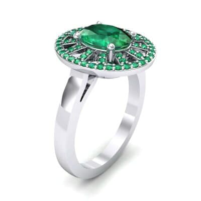 Oval Pierced Halo Emerald Ring (1.51 Carat)