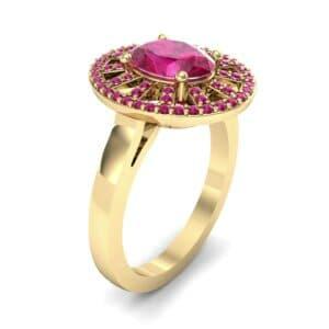 Oval Pierced Halo Ruby Ring (1.51 Carat)