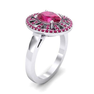 Oval Pierced Halo Ruby Ring (1.51 Carat)