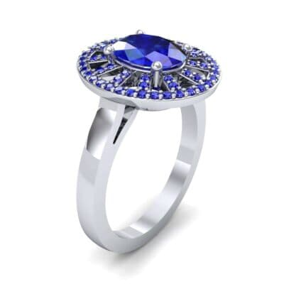Oval Pierced Halo Blue Sapphire Ring (1.51 Carat)