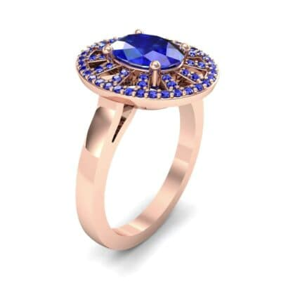 Oval Pierced Halo Blue Sapphire Ring (1.51 CTW)