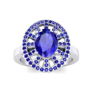 Oval Pierced Halo Blue Sapphire Ring (1.51 Carat)