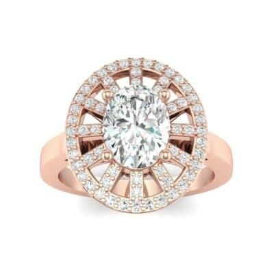 Oval Pierced Halo Diamond Ring (1.51 Carat)
