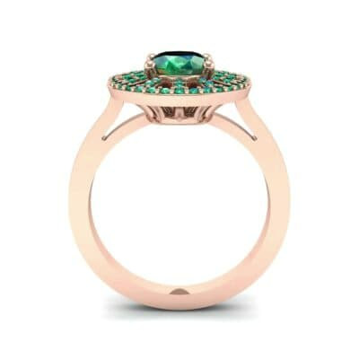 Oval Pierced Halo Emerald Ring (1.51 CTW) Side View