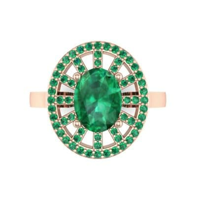 Oval Pierced Halo Emerald Ring (1.51 CTW) Top Flat View