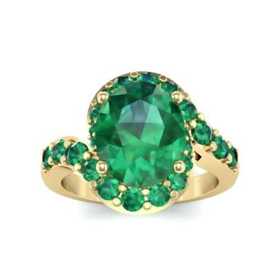 Oval Halo Emerald Bypass Ring (3.17 Carat)