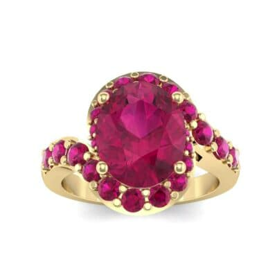 Oval Halo Ruby Bypass Ring (3.17 Carat)