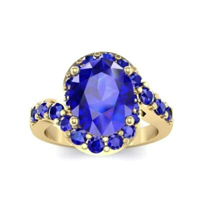 Oval Halo Blue Sapphire Bypass Ring (3.17 Carat)