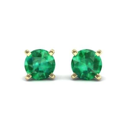 Classic Round Brilliant Emerald Stud Earrings (0.6 Carat)