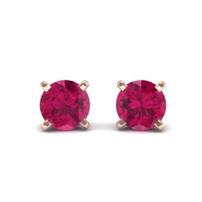 Classic Round Brilliant Ruby Stud Earrings (0.6 Carat)