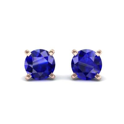 Classic Round Brilliant Blue Sapphire Stud Earrings (0.6 Carat)