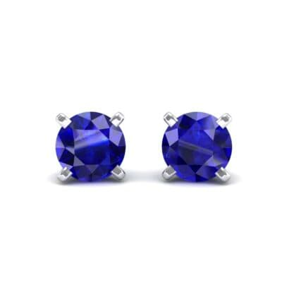 Classic Round Brilliant Blue Sapphire Stud Earrings (0.6 Carat)