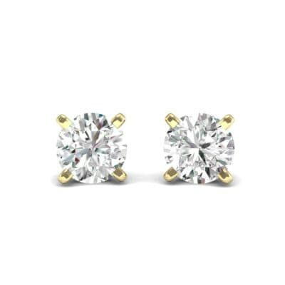 Classic Round Brilliant Diamond Stud Earrings (0.12 CTW) Perspective View