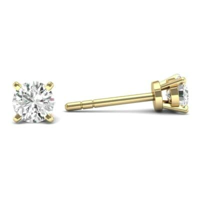 Classic Round Brilliant Diamond Stud Earrings (0.12 CTW) Top Dynamic View