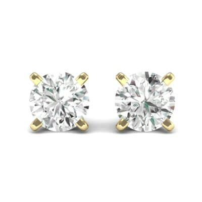 Classic Round Brilliant Diamond Stud Earrings (0.12 CTW) Side View