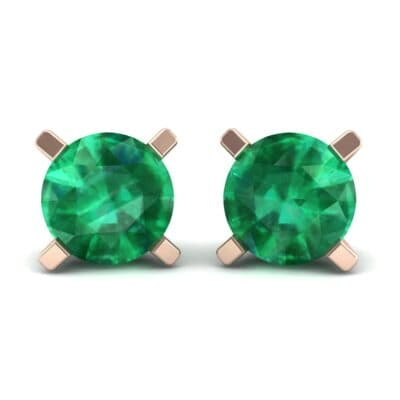 Classic Round Brilliant Emerald Stud Earrings (1.4 Carat)
