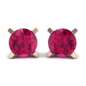 Classic Round Brilliant Ruby Stud Earrings (1.4 Carat)
