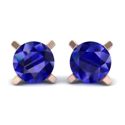 Classic Round Brilliant Blue Sapphire Stud Earrings (1.4 Carat)