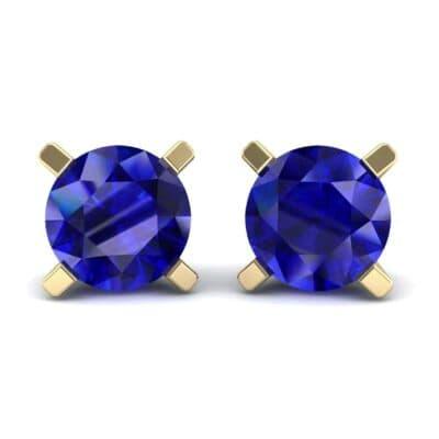 Classic Round Brilliant Blue Sapphire Stud Earrings (1.4 Carat)