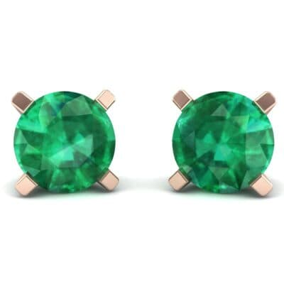 Classic Round Brilliant Emerald Stud Earrings (1.7 Carat)