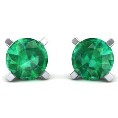 Classic Round Brilliant Emerald Stud Earrings (1.7 Carat)