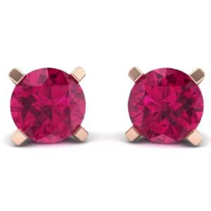 Classic Round Brilliant Ruby Stud Earrings (1.7 Carat)
