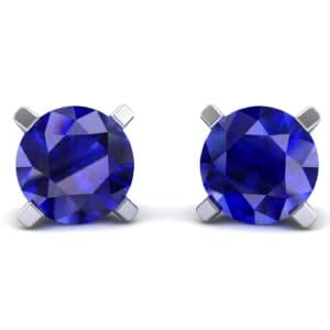 Classic Round Brilliant Blue Sapphire Stud Earrings (1.7 Carat)