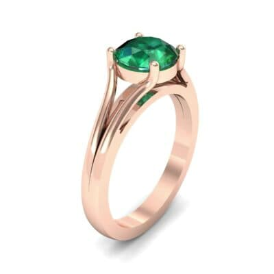Cathedral Split Shank Solitaire Emerald Engagement Ring (0.36 Carat)