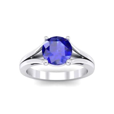 Cathedral Split Shank Solitaire Blue Sapphire Engagement Ring (0.36 Carat)