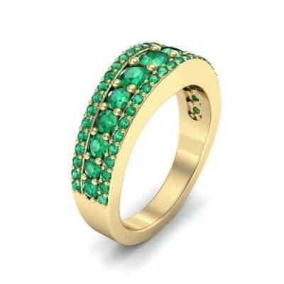 Reina Three-Row Pave Emerald Ring (1.29 Carat)