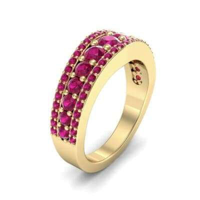Reina Three-Row Pave Ruby Ring (1.29 Carat)