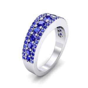 Reina Three-Row Pave Blue Sapphire Ring (1.29 Carat)