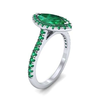 Marquise Halo Emerald Engagement Ring (0.97 Carat)