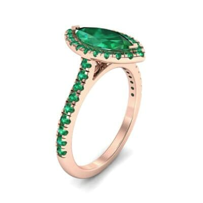 Marquise Halo Emerald Engagement Ring (0.97 CTW)